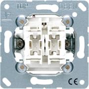 Механизм выключателя двухклавишного проходного (вкл/выкл с 2-х мест) 10 А / 250 В Jung A500 Белый 509u