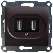 GLOSSA USB РОЗЕТКА, 5В /1400 мА, 2 х 5В /700 мА, механизм, ШОКОЛАД