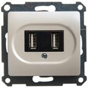 GLOSSA USB РОЗЕТКА, 5В /1400 мА, 2 х 5В /700 мА, механизм, ПЕРЛАМУТРОВЫЙ
