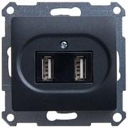 GLOSSA USB РОЗЕТКА, 5В /1400 мА, 2 х 5В /700 мА, механизм, АНТРАЦИТ