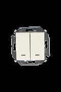 Simon 15 Бежевый Выключатель 2-клавишный с подсветкой, 16А, 250В, винт.зажим