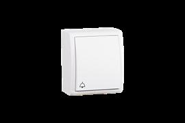 """Simon 15 Aqua Белый Выключатель 1-клавишный кнопочный с символом """"звонок"""" наружный, IP54"""