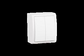 Simon 15 Aqua Белый Выключатель 2-клавишный с подсветкой наружный, IP54