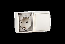 Simon 15 Aqua Бежевый Блок: Розетка 2P+E Schuko 16А 250В + выключатель 10А 250В, IP54