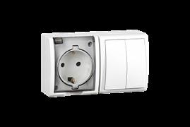 Simon 15 Aqua Белый Блок: Розетка 2P+E Schuko 16А 250В + выключатель двойной 10А 250В, IP54