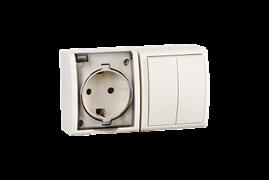 Simon 15 Aqua Бежевый Блок: Розетка 2P+E Schuko 16А 250В + выключатель двойной 10А 250В, IP54