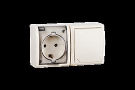 Simon 15 Aqua Бежевый Блок: Розетка 2P+E Schuko 16А 250В + выключатель проход.10А 250В, IP54