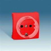 Simon 73 loft Красная Накладка на розетку c заземлением, с защитными шторками, S73Wood