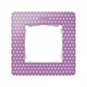 Simon 82 Detail Пастельно-розовый в белый горошек, основание белое Рамка 1-ая