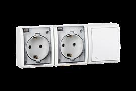 Simon 15 Aqua Белый Блок: Розетка 2-ая, 2P+E Schuko 16А 250В + выключатель проходной 10А 250В, IP54