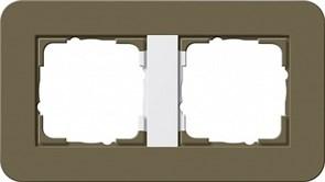 Gira серия E3 Дымчатый/белый глянцевый Рамка 2-ая