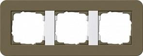 Gira серия E3 Дымчатый/белый глянцевый Рамка 3-ая