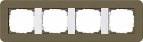 Gira серия E3 Дымчатый/белый глянцевый Рамка 4-ая