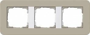 Gira серия E3 Серо-бежевый./белый глянцевый Рамка 3-ая
