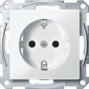 Розетка 1-ая электрическая , с заземлением и защитными шторками (безвинтовой зажим), Merten, Белый