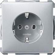 Розетка 1-ая электрическая , с заземлением (безвинтовой зажим), Schneider Electric, Серия MERTEN, Алюминий