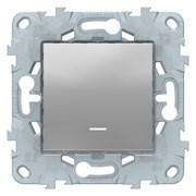 Выключатель 1-клавишный , с подсветкой, Schneider Electric, Серия Unica New, Алюминий