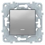 Выключатель 1-клавишный; кнопочный с подсветкой, Schneider Electric, Серия Unica New, Алюминий
