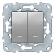 Выключатель 2-клавишный , с подсветкой, Schneider Electric, Серия Unica New, Алюминий