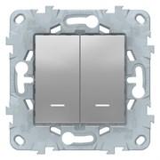 Выключатель 2-клавишный проходной с подсветкой (с двух мест), Schneider Electric, Серия Unica New, Алюминий