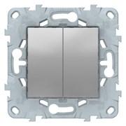 Выключатель 2-клавишный, Schneider Electric, Серия Unica New, Алюминий