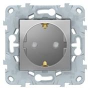 Розетка 1-ая электрическая , с заземлением и защитными шторками (безвинтовой зажим), Schneider Electric, Серия Unica New, Алюминий