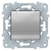Розетка 1-ая электрическая , с заземлением и крышкой, защитными шторками, Schneider Electric, Серия Unica New, Алюминий