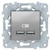 Розетка USB 2-ая (для подзарядки), Schneider Electric, Серия Unica New, Алюминий