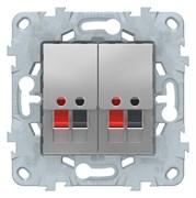 Розетка аудио для колонок 2-ая, Schneider Electric, Серия Unica New, Алюминий