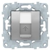 Розетка компьютерная 1-ая кат.5е, RJ-45 (интернет), Schneider Electric, Серия Unica New, Алюминий