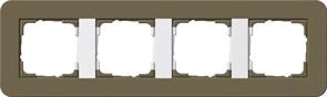 Gira серия E3 Дымчатый/белый глянцевый Рамка 4-ая 0214416