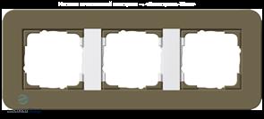 Gira серия E3 Дымчатый/белый глянцевый Рамка 3-ая 0213416