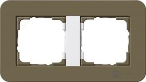 Gira серия E3 Дымчатый/белый глянцевый Рамка 2-ая 0212416