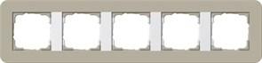 Gira серия E3 Серо-беевый/белый глянцевый Рамка 5-ая 0215418