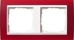 Рамка 2-пост для центральных вставок белого цвета, Gira Event Красный
