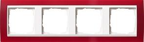 Рамка 4-пост для центральных вставок белого цвета, Gira Event Красный