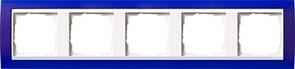 Рамка 5-пост для центральных вставок белого цвета, Gira Event Синий