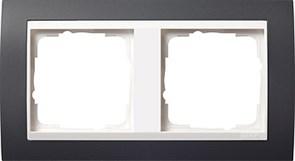 Рамка 2-поста для центральных вставок белого цвета, Gira Event Антрацит