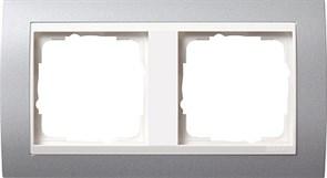 Рамка 2-поста для центральных вставок белого цвета, Gira Event Алюминий