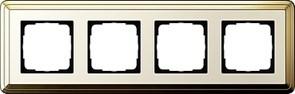 Рамка Gira ClassiX четырехместная Латунь-кремовый 0214633