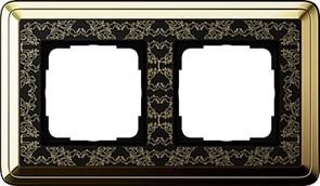 Рамка Gira ClassiX Art двухместная Латунь-Чёрный 0212672