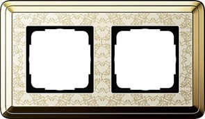 Рамка Gira ClassiX Art двухместная Латунь-кремовый 0212673