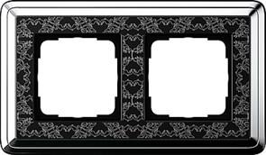 Рамка Gira ClassiX Art двухместная Хром-Чёрный 0212682