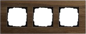 """Рамка 3-пост, Gira Esprit Алюминий """"шпон орехового дерева"""""""