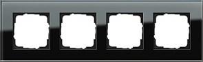 Рамка 4-пост, Gira Esprit Черное стекло 021405