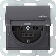 Розетка с откидной крышкой 16 А / 250 В~ Gira System 55 Антрацит 045428