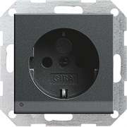 Розетка со светодиодной подсветкой с защитой от детей 16 А / 250 В~ Gira System 55 Антрацит