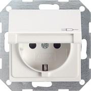 Розетка с откидной крышкой с защитой от детей Белый Глянцевый Gira 041403