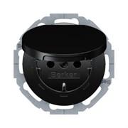 Штепсельная розетка SCHUKO с крышкой, Berker R.Classic цвет: черный 47442045