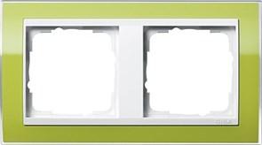 Рамка 2-пост, Gira Event Clear для центральных вставок белого цвета зеленый